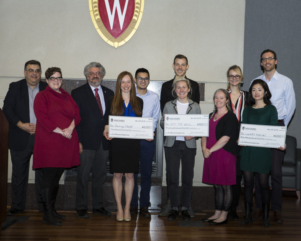 2018 Arts Business Competition finalists and judges pose with their giant checks.