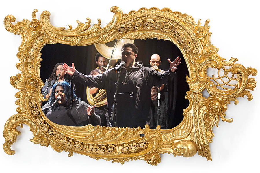Image of Rashaad Newsome's FIVE performance within ornate gold frame